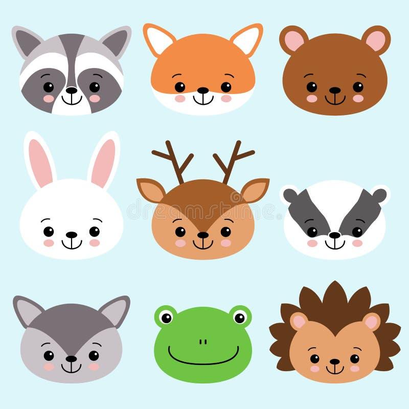 Anomals bonitos raposa dos desenhos animados, guaxinim, urso, coelho, cervo, texugo, lobo, rã, ouriço ilustração stock