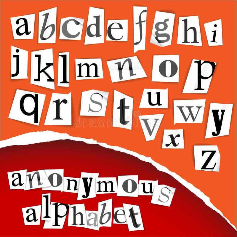 Anoniem alfabet - witte knipsels stock illustratie