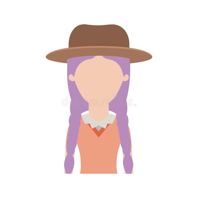 Anoniem vrouwen half lichaam met hoed en blouse met gevlecht haar in kleurrijk silhouet royalty-vrije illustratie