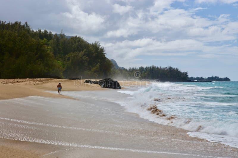 Anonieme mens die op een winderig strand lopen stock afbeelding