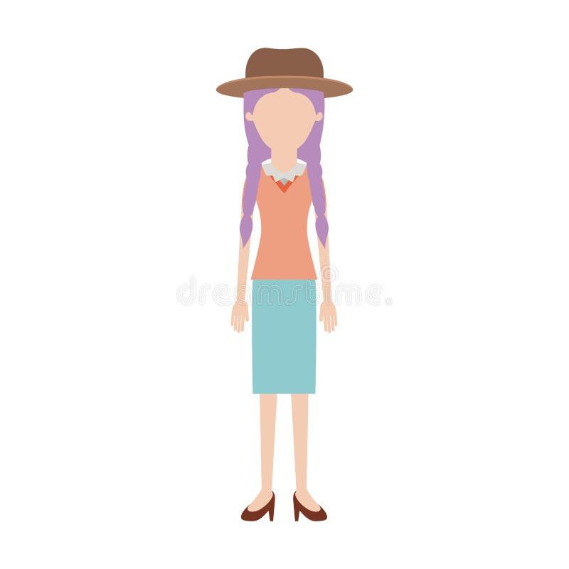 Anonieme vrouw met hoed en blouse en rok en hielschoenen met gevlecht haar in kleurrijk silhouet royalty-vrije illustratie