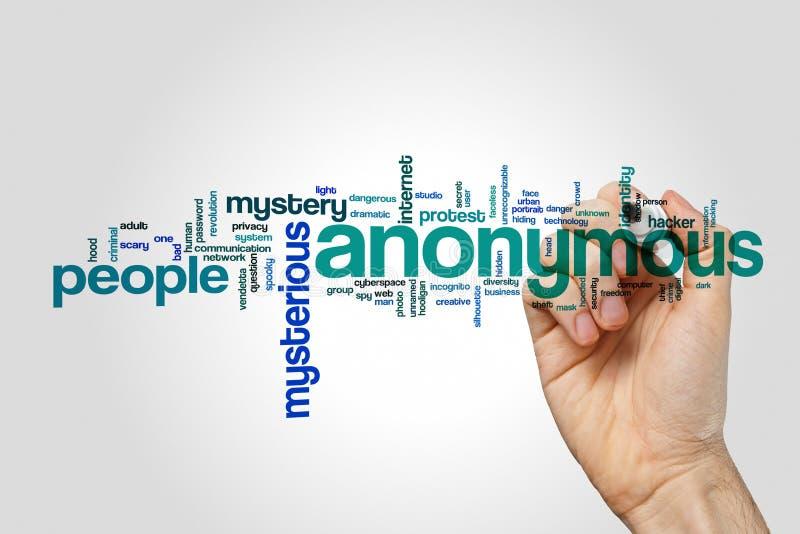 Anonieme woordwolk op grijze achtergrond royalty-vrije stock afbeeldingen