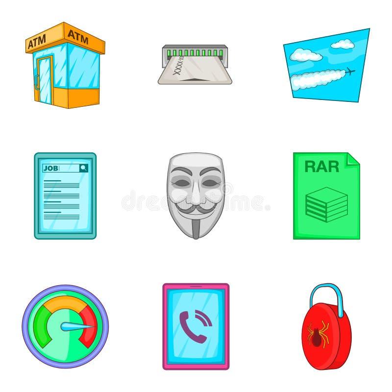 Anonimowe ikony ustawiać, kreskówka styl ilustracja wektor