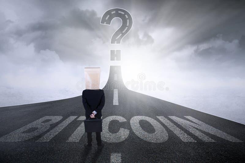 Anonimowy przedsiębiorca z bitcoin słowem ilustracja wektor