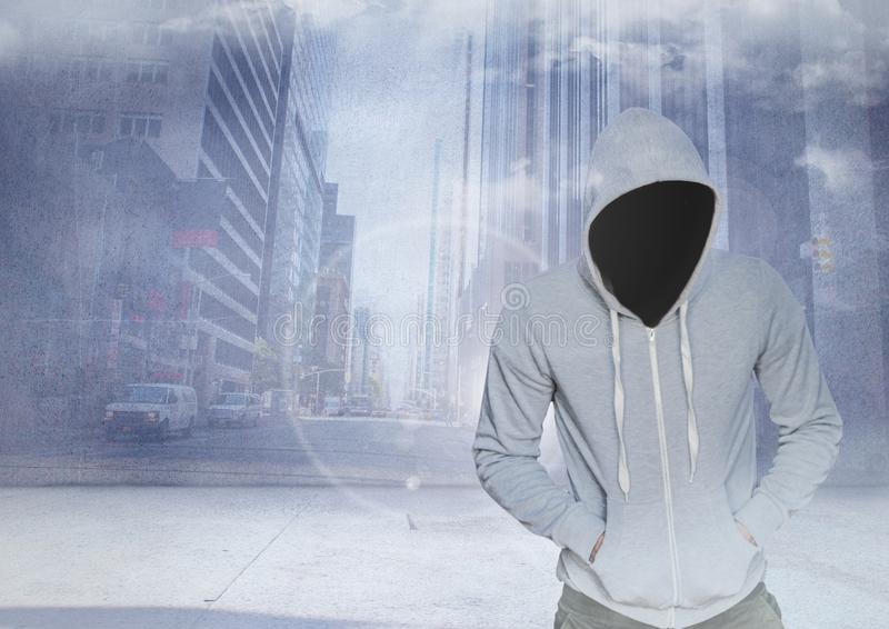 Anonym brottsling i huv framme av stadsgatan stock illustrationer