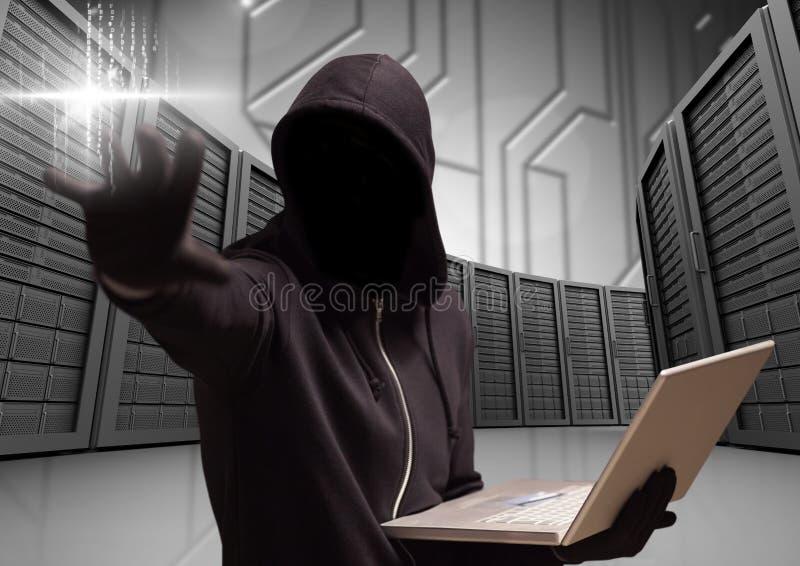 Anonym brottsling i huv med bärbara datorn som är främst av serveror stock illustrationer