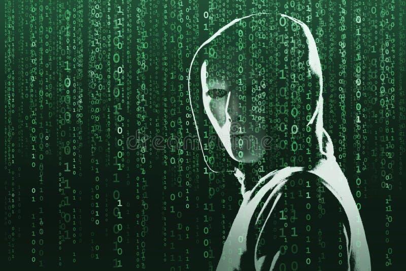 Anonym datoren hacker över abstrakt digital bakgrund Fördunklad mörk framsida i maskering och huv Datatjuv, internet arkivbild