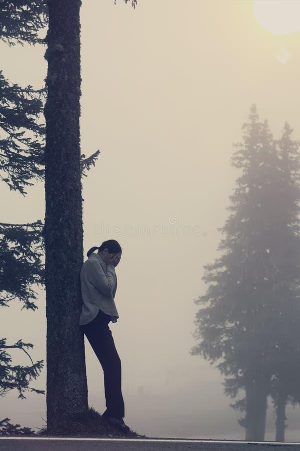 Anonym för trädlins för ung kvinna signalljus fotografering för bildbyråer