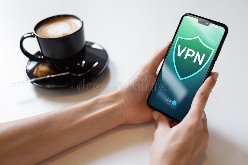 Anonym och säker internetåtkomst för VPN faktisk privat nätverk, begrepp isolerad teknologiwhite royaltyfri bild