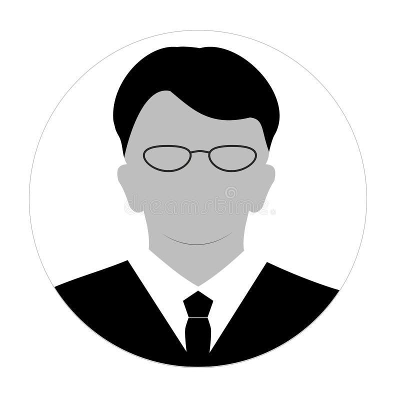 Anonyme Gesichtsikone des Profils Graue Schattenbildperson Männlicher Geschäftsmannprofil-Nichterfüllungsavatara Foto Placeholder vektor abbildung