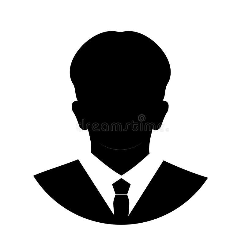 Anonyme Gesichtsikone des Profils Graue Schattenbildperson Männlicher Geschäftsmannprofil-Nichterfüllungsavatara Foto Placeholder lizenzfreie abbildung