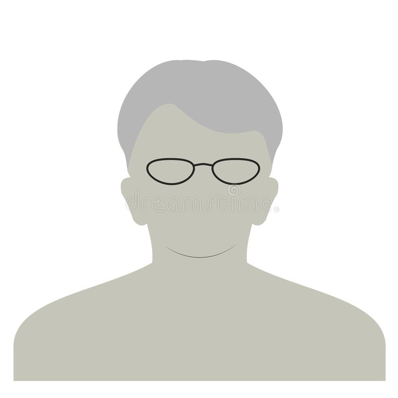 Anonyme Gesichtsikone des Profils Graue Schattenbildperson Männlicher Nichterfüllungsavatara Foto Placeholder Getrennt auf weißem vektor abbildung