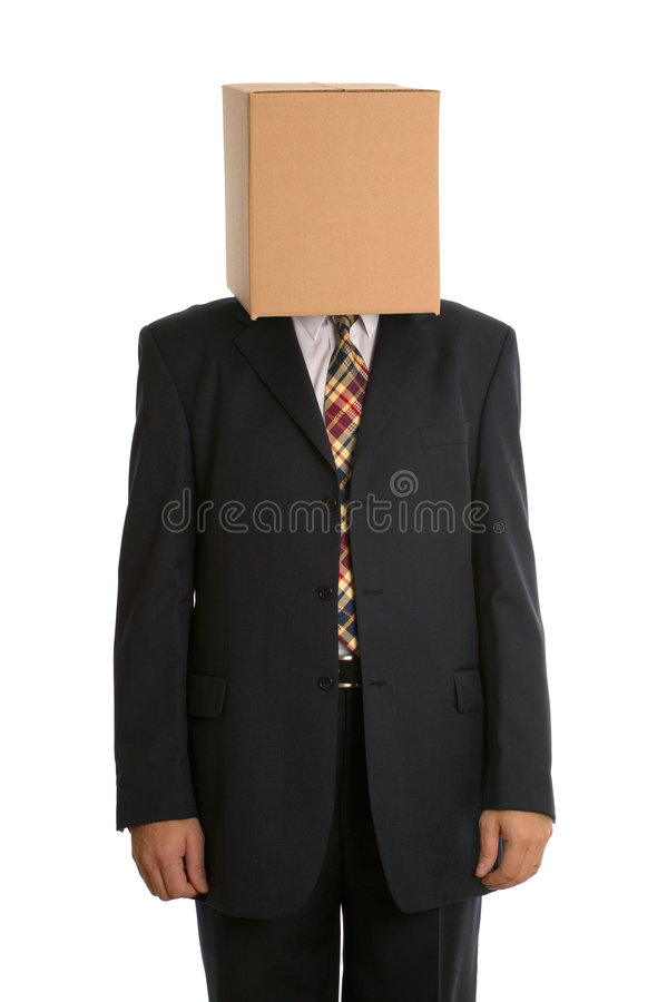 Anonyme Kastenmannstellung stockfotos