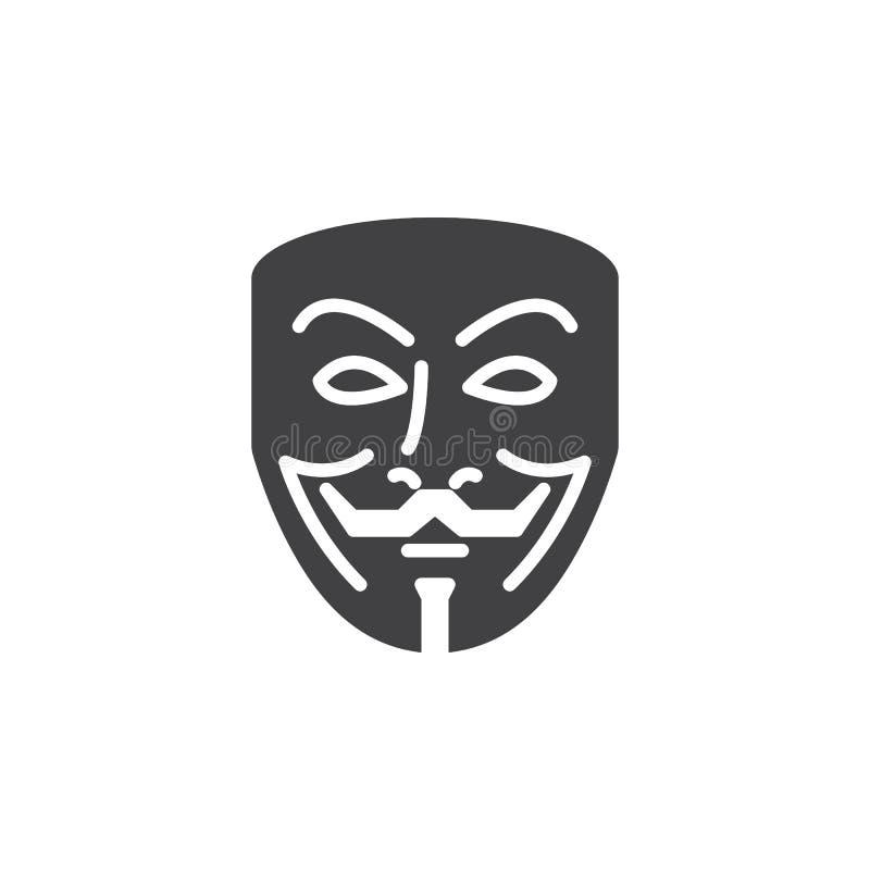 Anonymer Maskenikonenvektor, gefülltes flaches Zeichen vektor abbildung