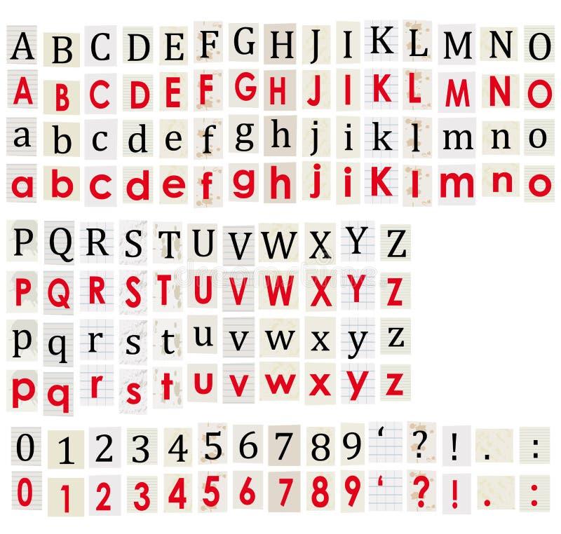 Anonymes Alphabet und Zahlen auf weißem Hintergrund. vektor abbildung
