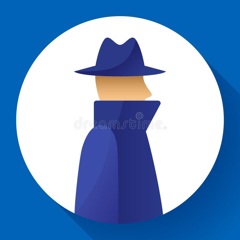 Anonymitätskonzept, Spion, Detektiv, Mittel, Anonymus im Mantel und Hutikone, anonym, Vektorillustration lizenzfreie abbildung