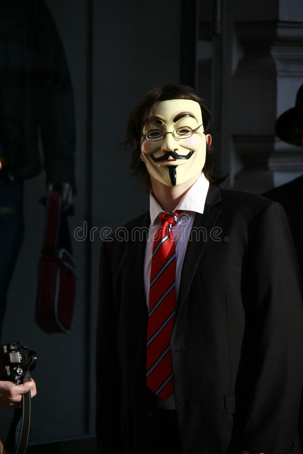 Download Anonymous Activist With Guy Fawkes Mask Editorial Stock Image - Image: 23890964