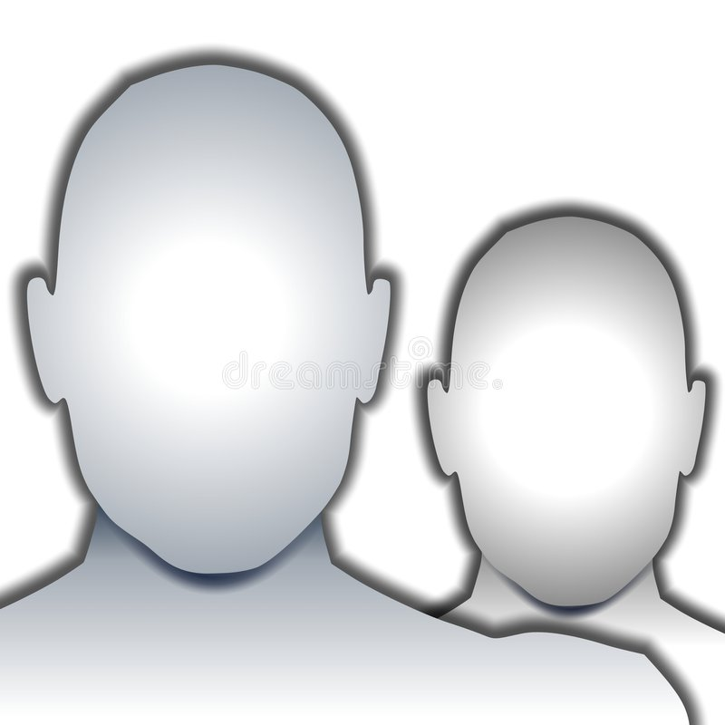 Anonymous Blank Faces. An illustration featuring a couple of anonymous blank faces stock illustration