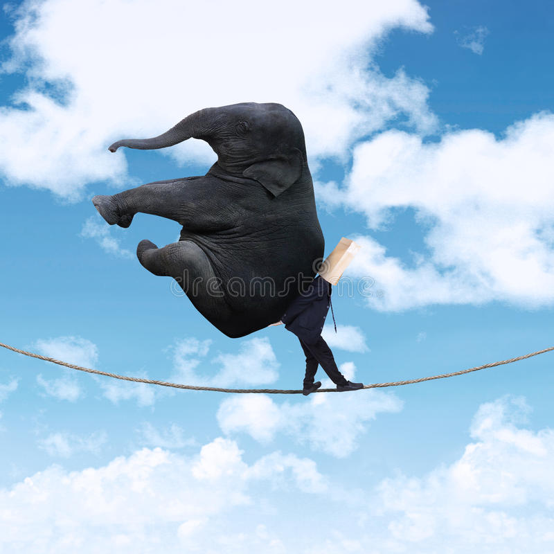 Free Anonymous Businessman Carrying Elephant 1 Stock Image - 44281531
