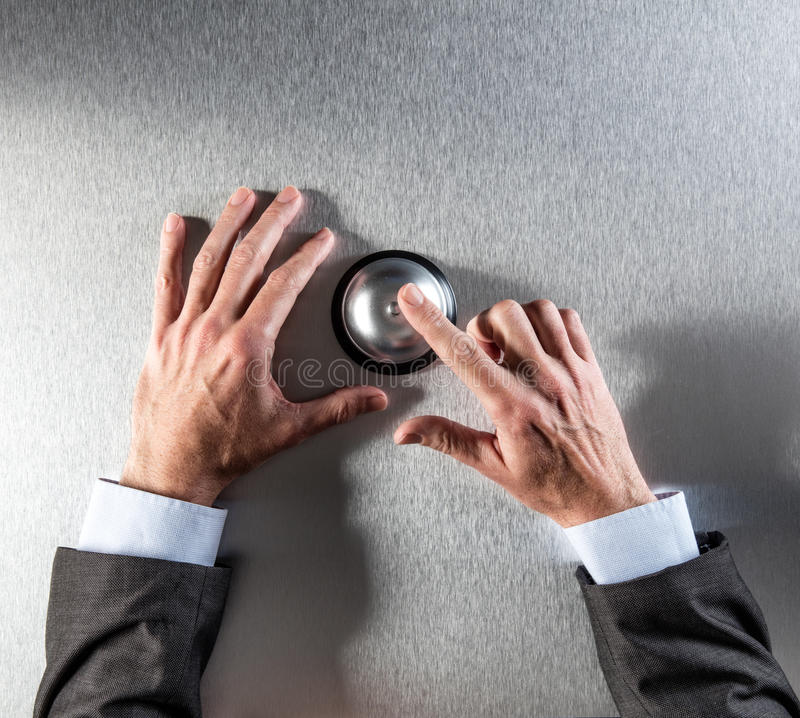 Anonymous businessman hands requiring assistance, copy space, above view stock photography