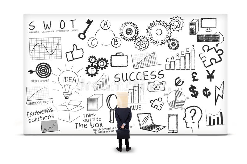 Anonymous businessman and SEO strategy 2. Anonymous businessman looking at SEO strategy on whiteboard vector illustration