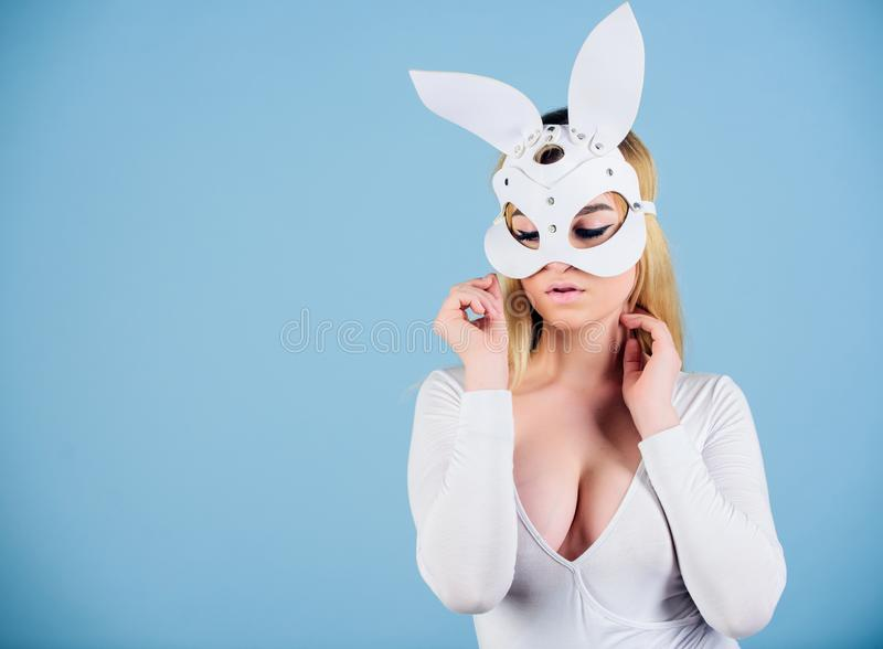 Anonymous concept. Sex toys and accessories. Sexy woman play sex game. Satisfaction and pleasure. Erotic bunny. Sexy royalty free stock images