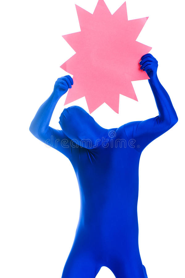 Anonymous, faceless man holding a blank sign royalty free stock photography