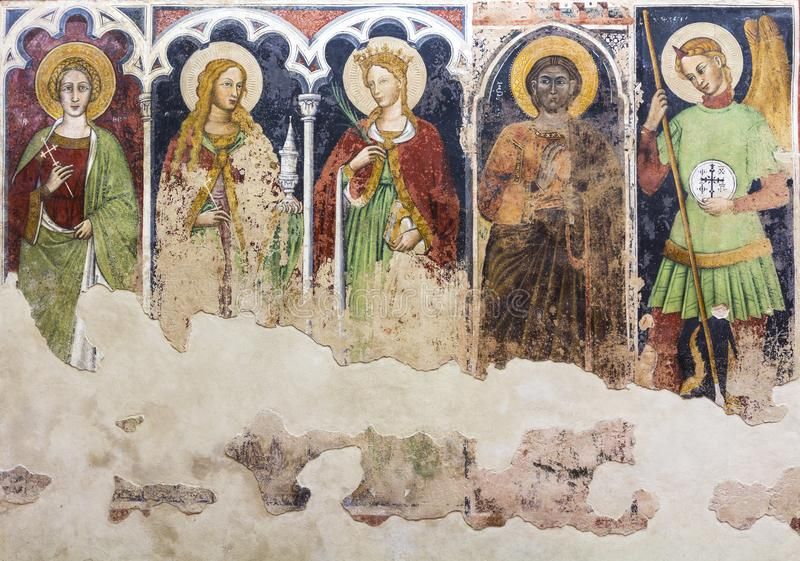 Anonymous frescoes of Santo Stefano Church, Soleto, Italy fresco. Es of Santo Stefano Church, Soleto, Italy stock images