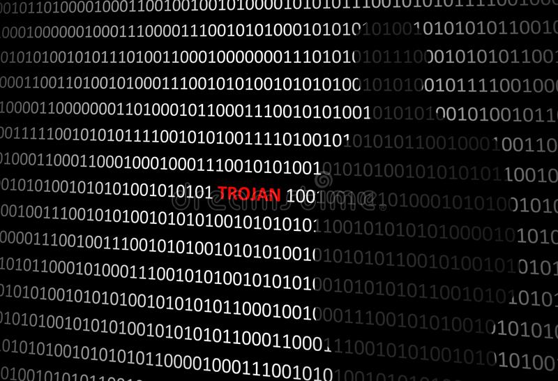 Anonymous hacker without face and trojan horse virus background stock photos