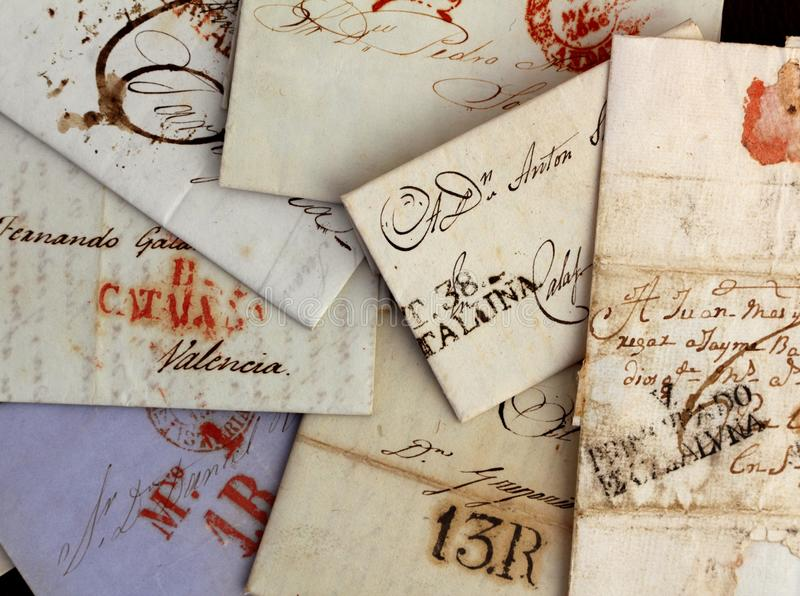 Anonymous handwritten real old letters from Spain royalty free stock photo