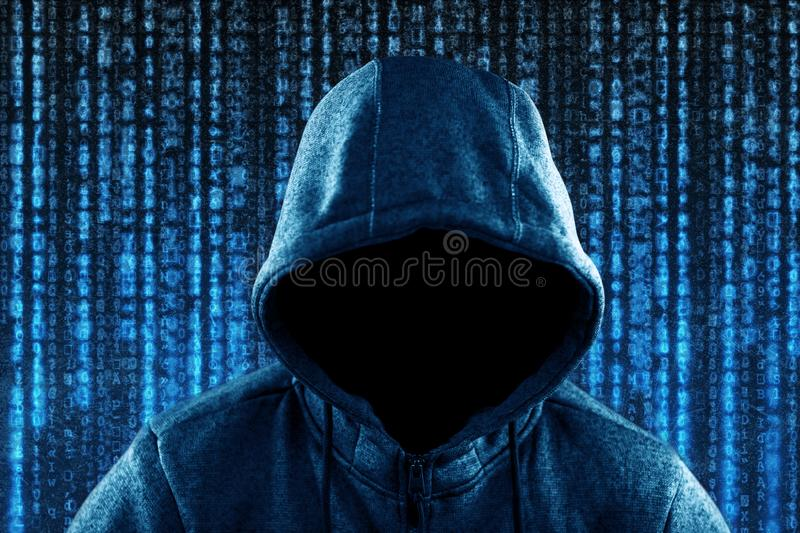 Anonymous hooded computer hacker portrait royalty free stock images