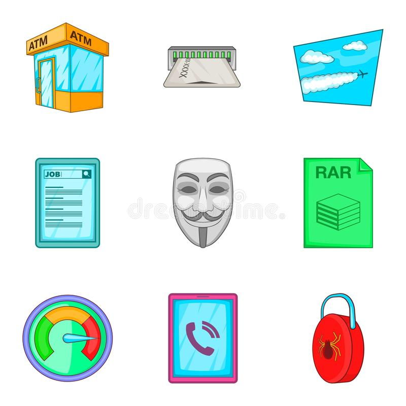 Anonymous icons set, cartoon style vector illustration