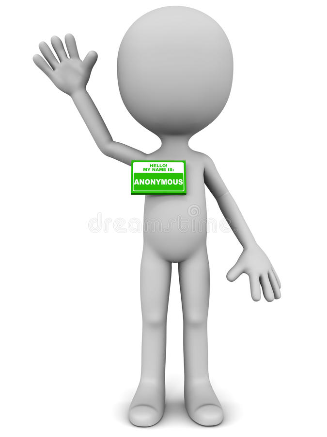 Anonymous. Man waving hand against white, concept of anonymity and faceless internet of legal representation stock illustration