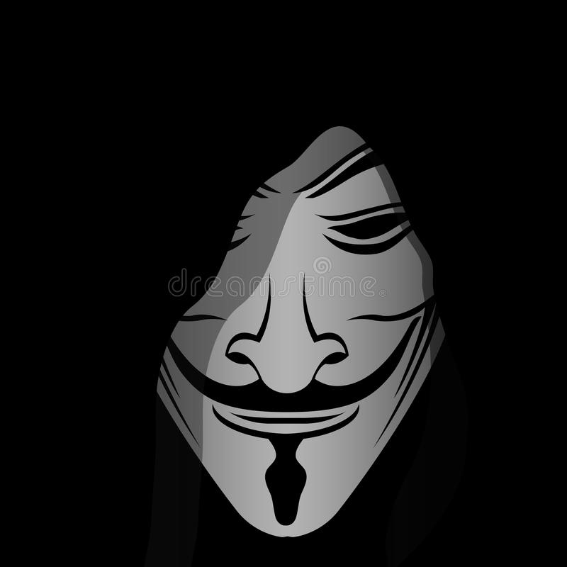 Anonymous mask soul. Anonymous terms are often used by hackers to disable security or hack a digital system stock illustration