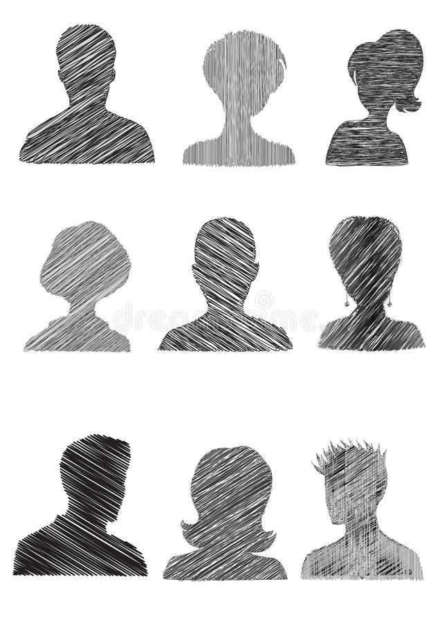 Anonymous Mugshots With Scribble Effect Royalty Free Stock Photo