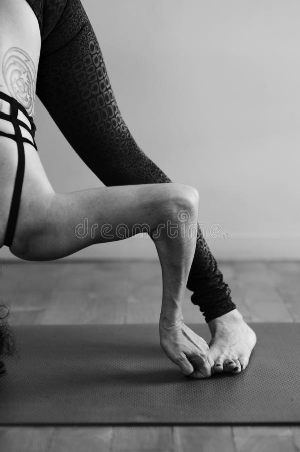 Yoga Details Woman On The Mat royalty free stock image