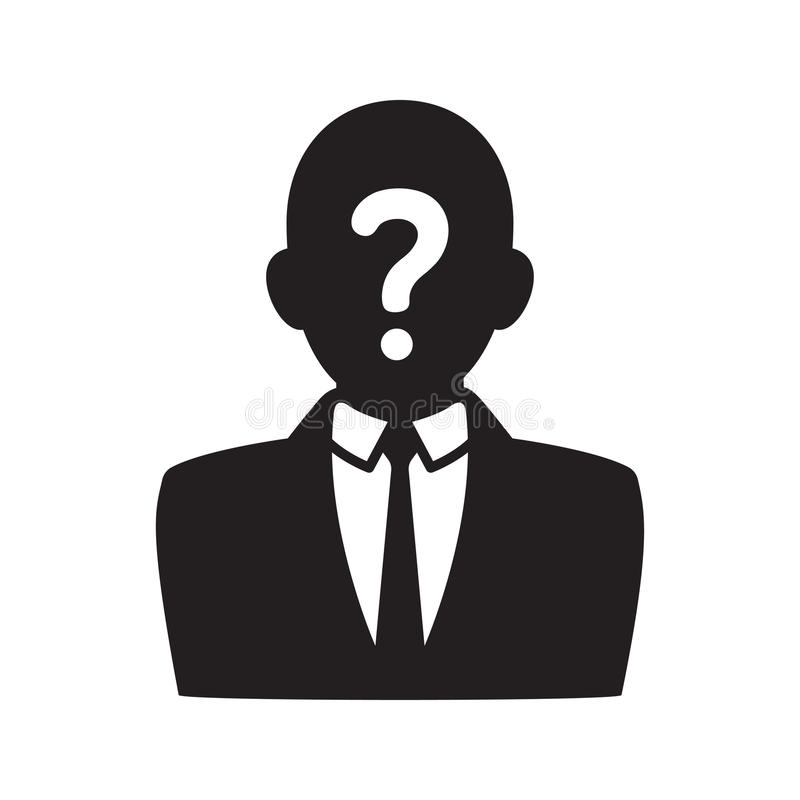 Anonymous user icon. Black silhouette of man in business suit with question mark on face. Profile picture vector illustration royalty free illustration