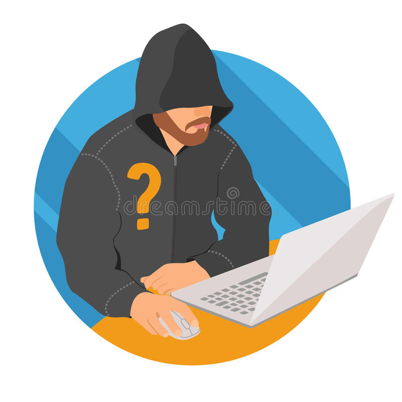 Anonymous user on laptop icon, flat design web anonymity sign, vector illustration stock illustration