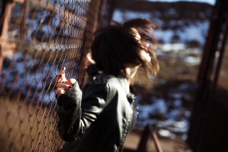 Download Anonymous Woman Portrait Over Fence Stock Image - Image: 29360761