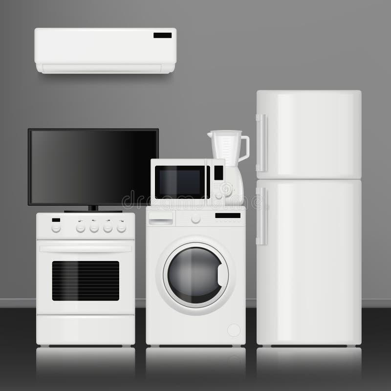 anordningar returnerar kök Bilder för elektrisk för hjälpmedel för hushålllager realistiska elektronisk vektor för objekt royaltyfri illustrationer