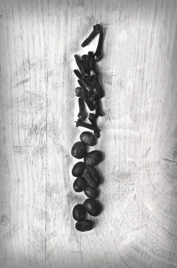 Anordnung für Schwarzweiss-Nelkensamen und -kaffeebohnen auf hölzernem Hintergrund stockfotografie