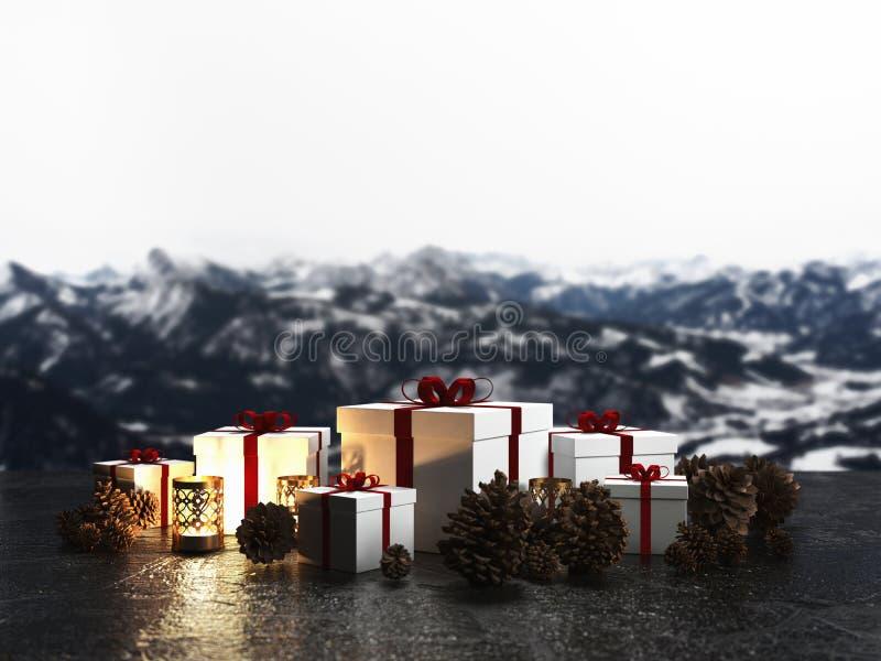 Anordnung für Weihnachtsgeschenke durch Kerzenlicht lizenzfreie abbildung