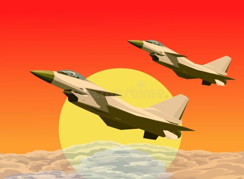 Anordnungsflugwesen der Strahlen J-10 in den Sonnenuntergängen stock abbildung