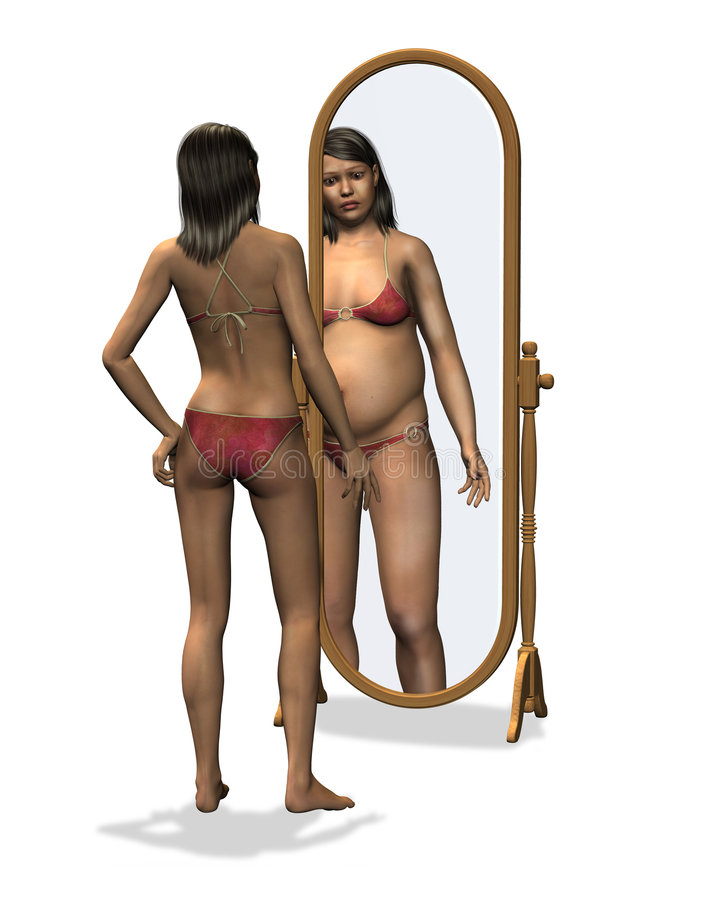 Anorexia - Distorted Body Image Stock Image