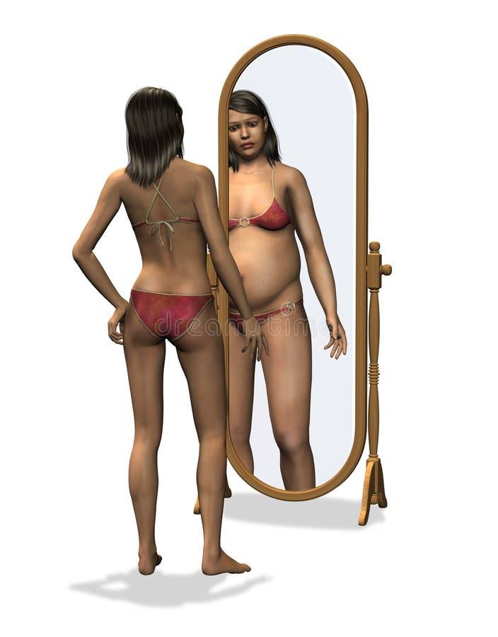 Anorexia - immagine storta del corpo illustrazione vettoriale
