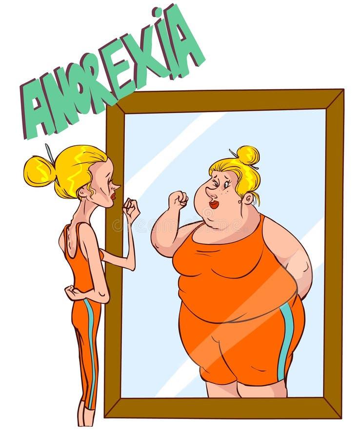 Anorexia - immagine storta del corpo illustrazione di stock