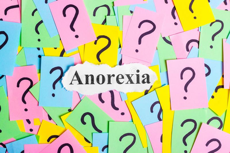 Anorexia Syndrome text on colorful sticky notes Against the background of question marks.  stock photos