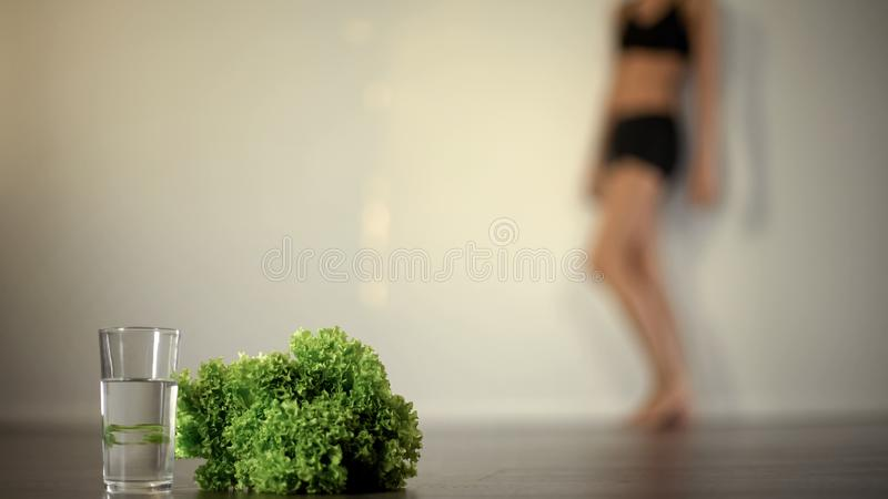Anorexic woman feeling sick, severe diet, lack of vitamins, mental disease. Stock photo stock photography