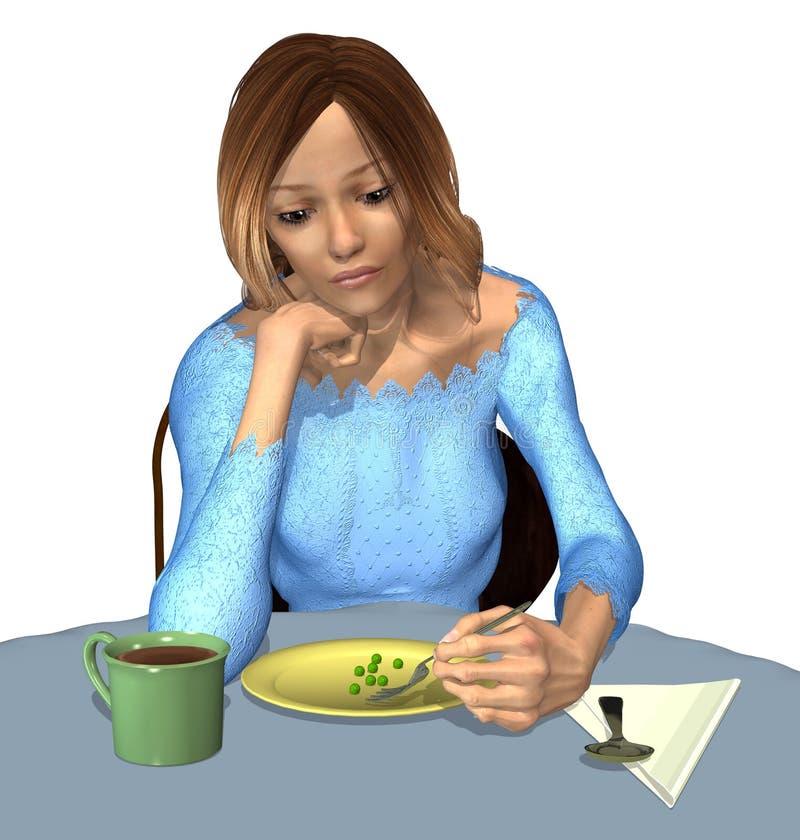 Anorexie - een Uiterst kleine Maaltijd royalty-vrije illustratie