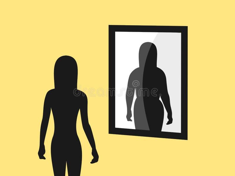 Anorexie et image négative de corps illustration stock
